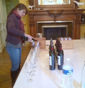 Pauline Vauthier,who looks after the vineyards and oversees the winemaking, pours Chateaux Ausone, de Fonbel, Simard, Haut Simard, Moulin St Georges and Chapelle d'Ausone.